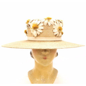 Gorgeous Antique Straw Hat Wide Brim Womens Victorian Daisies Applique Large - The Best Vintage Clothing  - 1