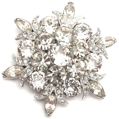 Vintage EISENBERG ICE Signed Silvertone Rhinestone Exquisite Detail Pin Brooch