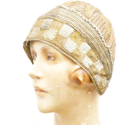 Vintage Art Deco Ladies Cloche Hat Metallic 1920s FAB Bronze/Silver/Gold