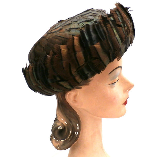 Vintage Ladies Hat Iridescent Turkey Feathers Brown Orange Green 1950s - The Best Vintage Clothing  - 3