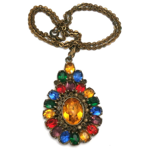 Vintage 1930s Paste Primary Colors Stone Pendant & Chain Large