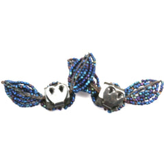 "Vintage 1940s Shoe Buckles Blue Carnival Glass Bows 2.5"" - The Best Vintage Clothing  - 2"