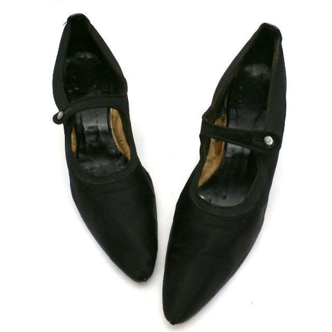 Vintage Ladies Black SIlk Mary Jane Pumps  Size 9.5 Vanity Fair 1920s