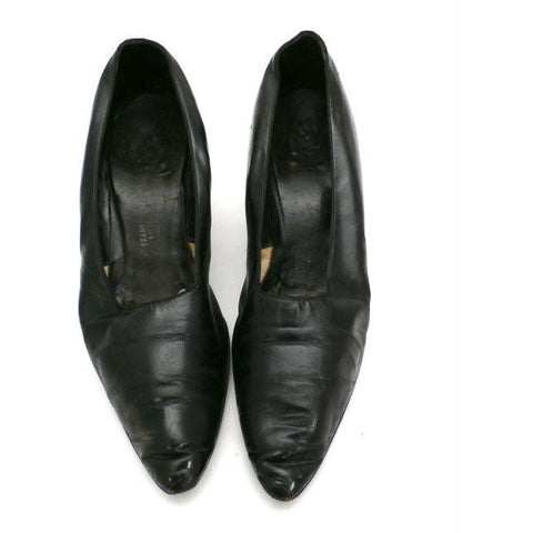 Vintage Ladies Black Leather Pumps  Size 6 Frank Bros Fifth Ave 1920s