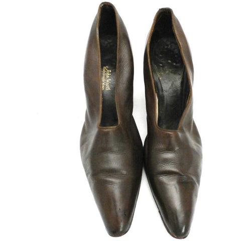 Vintage Ladies Shoes Pumps Brown Leather Late Teens-Early 1920s Size 6B John Ward