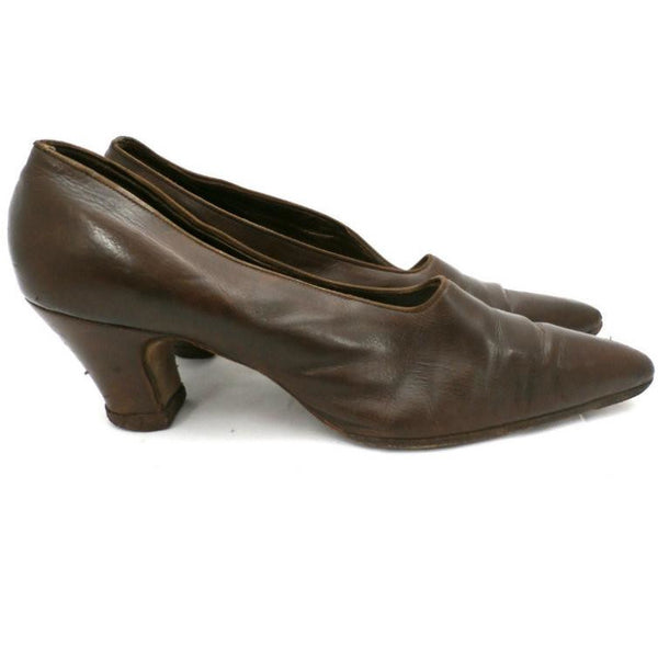 Vintage Ladies Shoes Pumps Brown Leather Late Teens-Early 1920s Size 6B John Ward - The Best Vintage Clothing  - 2