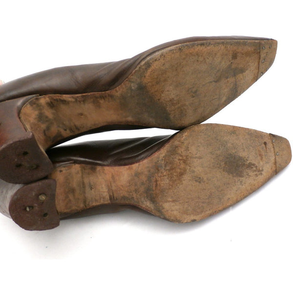 Vintage Ladies Shoes Pumps Brown Leather Late Teens-Early 1920s Size 6B John Ward - The Best Vintage Clothing  - 5
