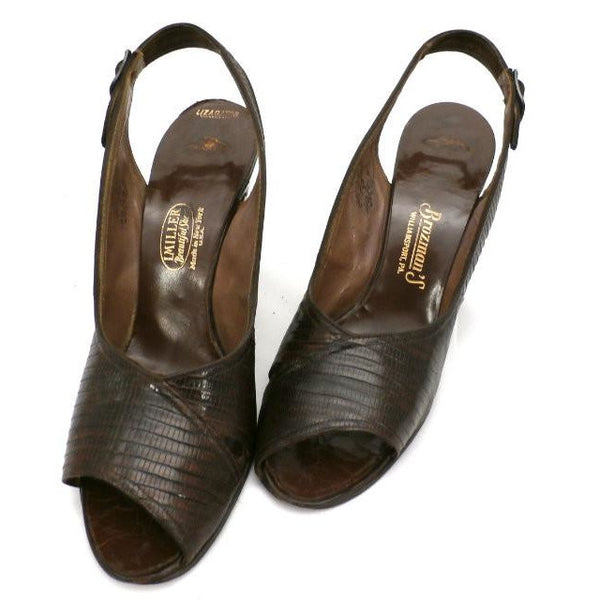 "Vintage Ladies Peep-Toe Slingback Heels Brown Lizagator Size 9 3 1/2"" Heel 1940s - The Best Vintage Clothing  - 1"