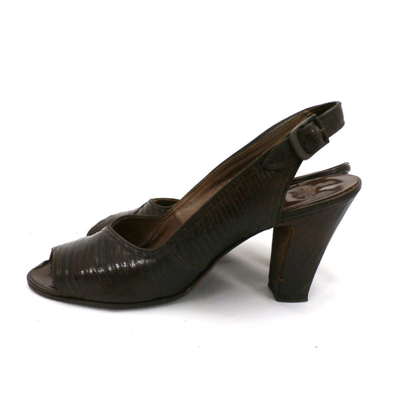 "Vintage Ladies Peep-Toe Slingback Heels Brown Lizagator Size 9 3 1/2"" Heel 1940s - The Best Vintage Clothing  - 3"