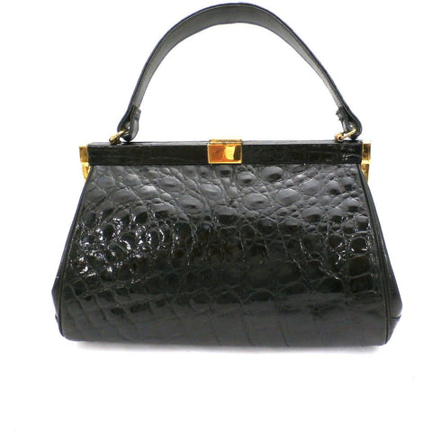 Vintage Kelly Style Bag Real Leather Black Alligator/Croc Finish Mayer 1950s Mint - The Best Vintage Clothing  - 1