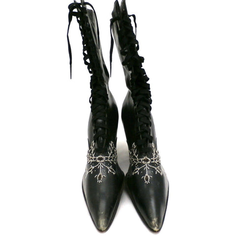 Antique Vintage Black Leather Spool Heel Boots Beaded Vamp Sz 5