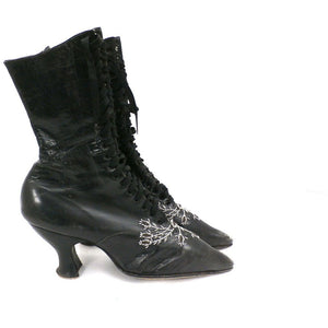 Antique Vintage Black Leather Spool Heel Boots Beaded Vamp Sz 5 - The Best Vintage Clothing  - 2