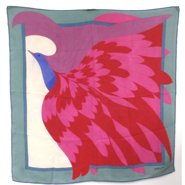 "Vintage Gres Scarf Huge Stylized Bird 35"" Silk - The Best Vintage Clothing  - 1"