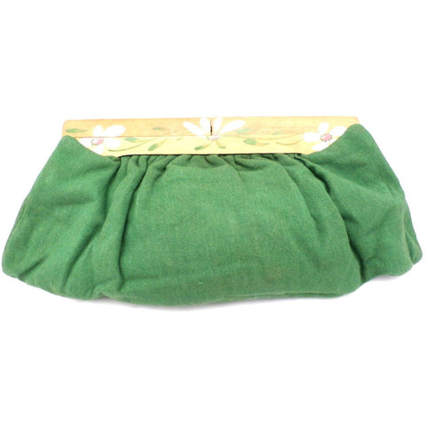 Vintage Green Linen Clutch Purse Hand Painted Wood Frame 1940s