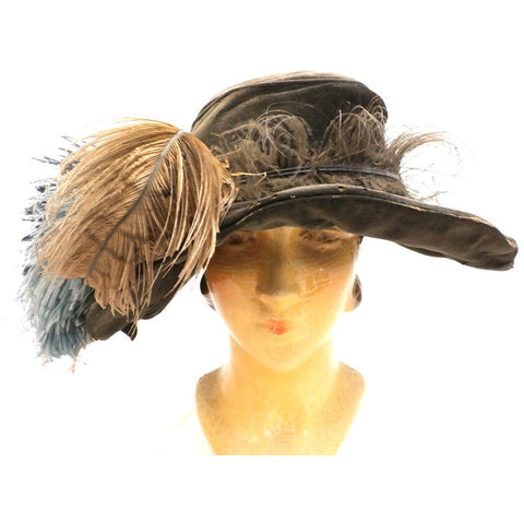 Antique Victorian Wide Brim Hat Feathers Brown Velvet Large Ruth E. Miller