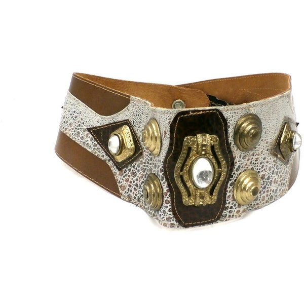 Vintage Belt Daniel Y. Huge Leather Bling Brown Gray 29-31 1980s - The Best Vintage Clothing  - 2