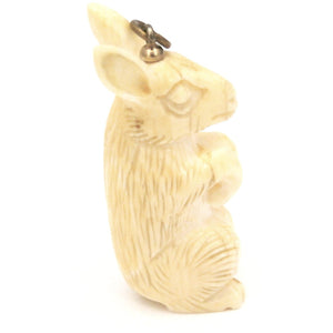 Antique Genuine Carved Ivory Rabbit Charm Figure - The Best Vintage Clothing  - 1