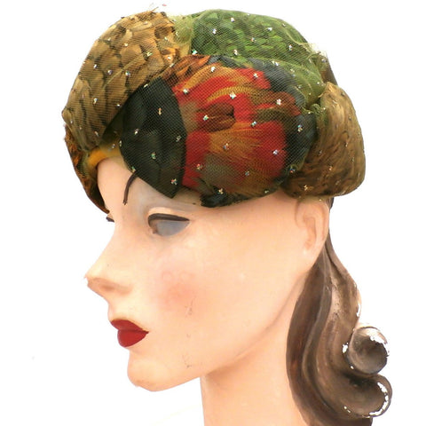 Vintage Christian Dior Colorful Feather Fantasy Hat 1950s Med