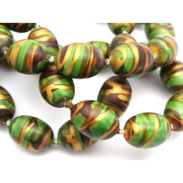 "Vintage Necklace Paper Mache Beads 1920s Green Copper Gold 35"" - The Best Vintage Clothing  - 3"