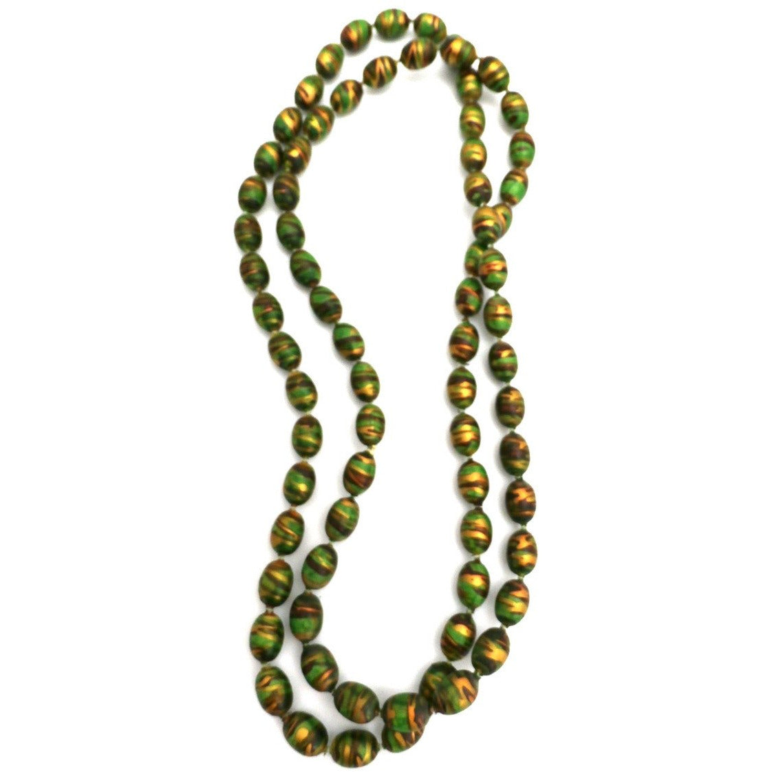 "Vintage Necklace Paper Mache Beads 1920s Green Copper Gold 35"" - The Best Vintage Clothing  - 1"