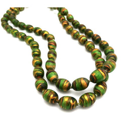 "Vintage Necklace Paper Mache Beads 1920s Green Copper Gold 35"" - The Best Vintage Clothing  - 2"