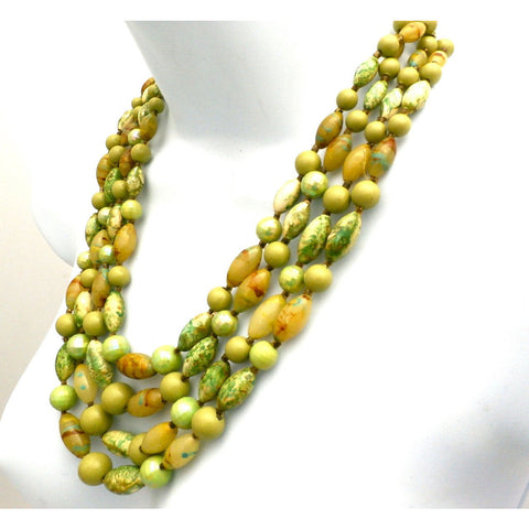 Vintage Beads & Necklace Set 1950s Hong Kong Greens