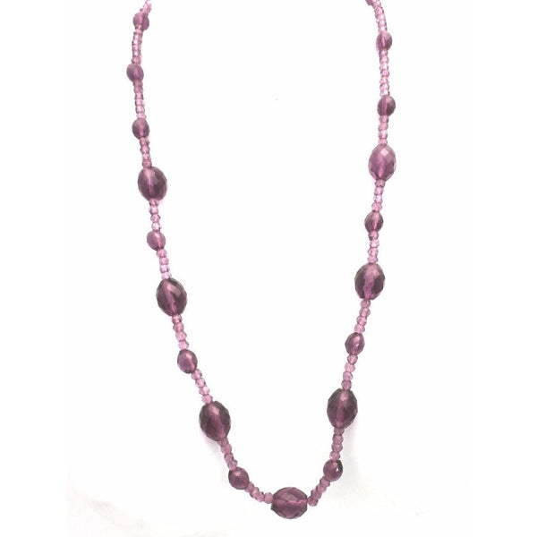 "Antique Vintage Amethyst Beads Necklace 1920s 26"" - The Best Vintage Clothing  - 2"