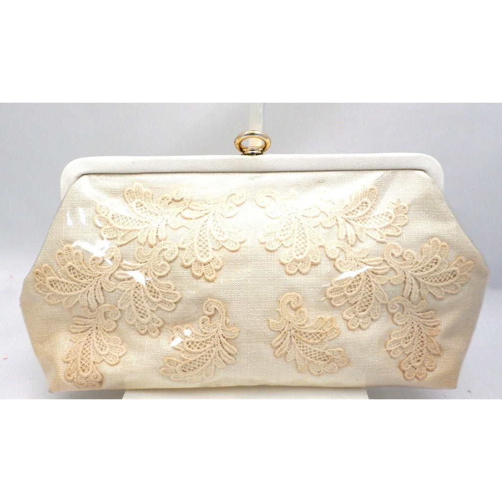 Vintage Purse Clear Plastic-Covered Lace Applique1950S - The Best Vintage Clothing  - 1