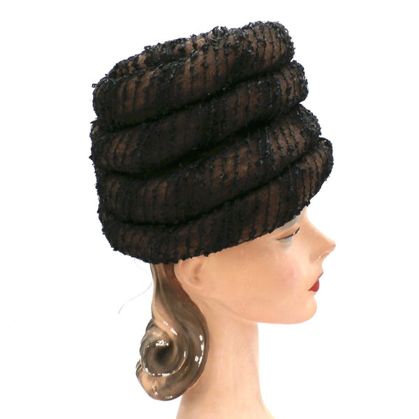 Vintage Ladies Hat Gwen Pennington Beehive Brown/Black 1960s - The Best Vintage Clothing  - 2