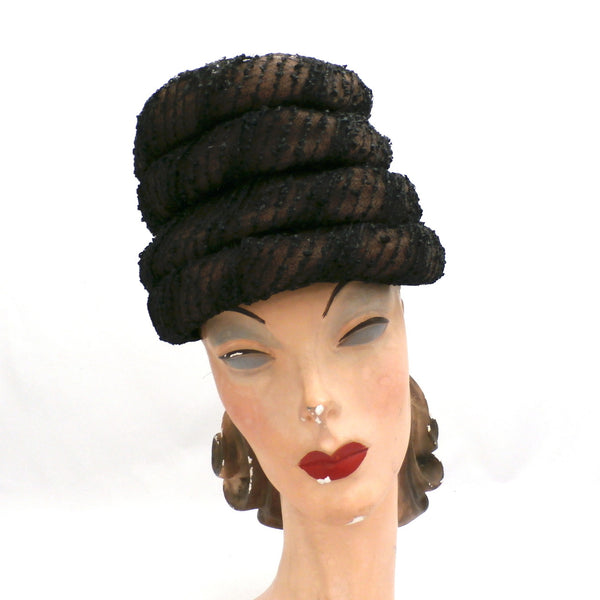 Vintage Ladies Hat Gwen Pennington Beehive Brown/Black 1960s - The Best Vintage Clothing  - 1