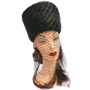Vintage Straw Ladies Hat Tall Toque Long Veil 1960s Large - The Best Vintage Clothing  - 1