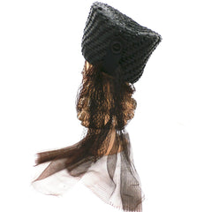 Vintage Straw Ladies Hat Tall Toque Long Veil 1960s Large - The Best Vintage Clothing  - 4