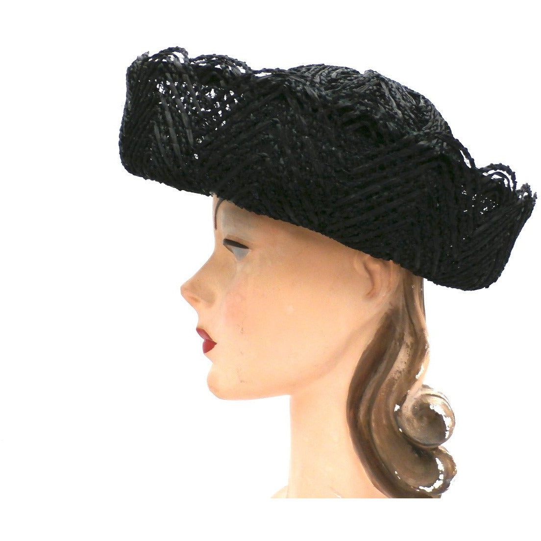 Vintage Ladies Black Cellophane Lace Straw Brimmed Hat 1960s - The Best Vintage Clothing  - 1