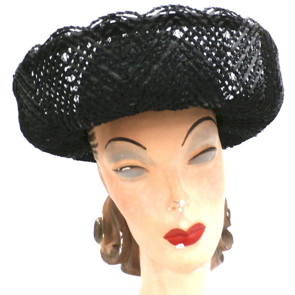 Vintage Ladies Black Cellophane Lace Straw Brimmed Hat 1960s - The Best Vintage Clothing  - 2