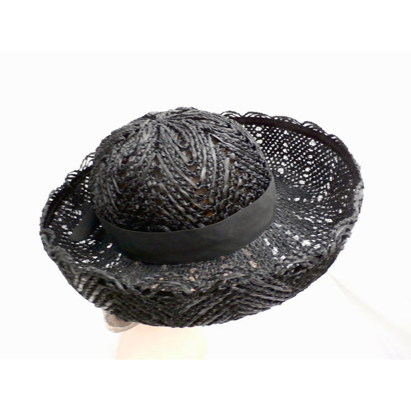 Vintage Ladies Black Cellophane Lace Straw Brimmed Hat 1960s - The Best Vintage Clothing  - 3