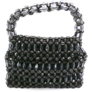 Vintage Purse Gray  Plastic Faceted Beads Handmade Hong Kong 1960S - The Best Vintage Clothing  - 1