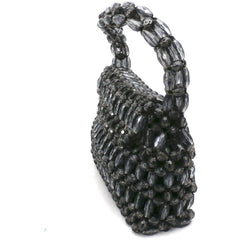 Vintage Purse Gray  Plastic Faceted Beads Handmade Hong Kong 1960S - The Best Vintage Clothing  - 2