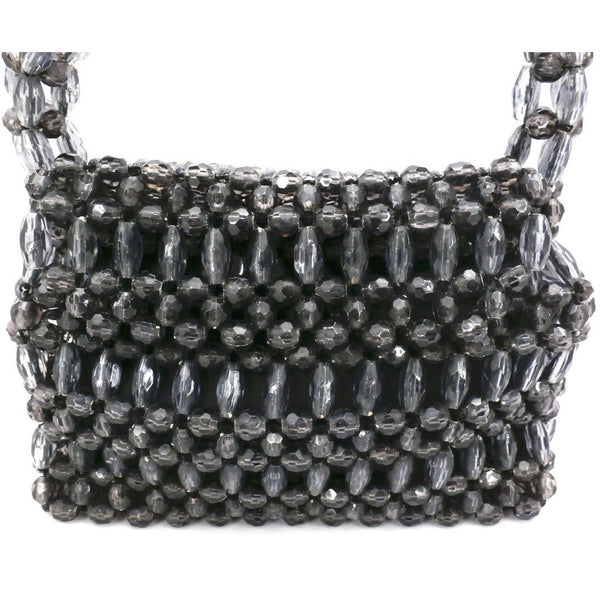 Vintage Purse Gray  Plastic Faceted Beads Handmade Hong Kong 1960S - The Best Vintage Clothing  - 3