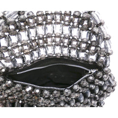 Vintage Purse Gray  Plastic Faceted Beads Handmade Hong Kong 1960S - The Best Vintage Clothing  - 4