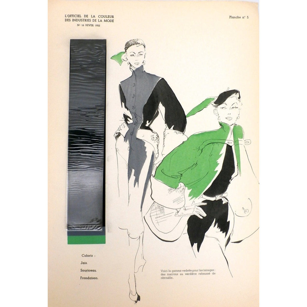 OfficielDe La Couleur Des Industries De La Mode No. 16 Hiver 1952 Plate 5 - The Best Vintage Clothing  - 1