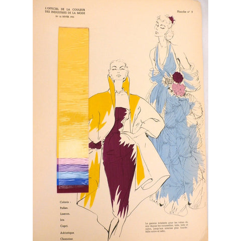Officiel De La Couleur Des Industries De La Mode No. 6 Hiver 1952 Plate 9 - The Best Vintage Clothing  - 1