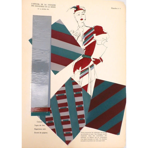 Officiel De La Couleur Des Industries De La Mode No. 6 Hiver 1952 Plate 11 - The Best Vintage Clothing  - 1