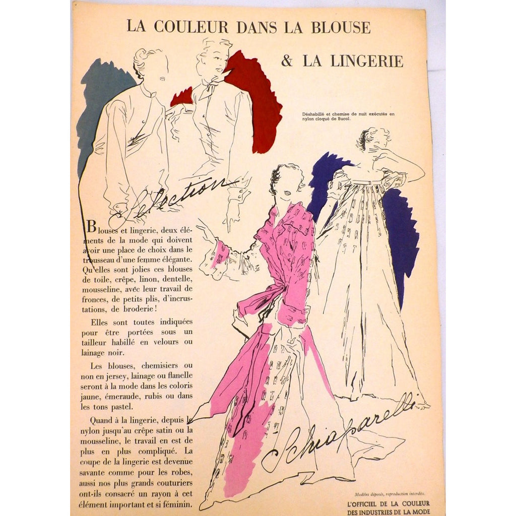 Schiaparelli Vintage Officiel De La Couleur Des Industries De La Mode No. 6 Hiver '52 - The Best Vintage Clothing  - 1