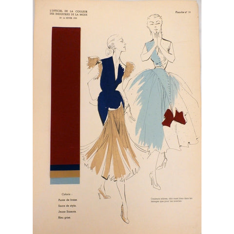 Officiel De La Couleur Des Industries De La Mode No. 6 Hiver 1952 Plate 10 - The Best Vintage Clothing  - 1