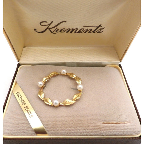 Vintage Krementz 14K Gold Overlay & Genuine Pearls Brooch In Box 1960s - The Best Vintage Clothing  - 1