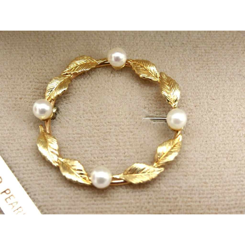 Vintage Krementz 14k Gold Overlay & Genuine Pearls Brooch In Box 1960s   The Best Vintage