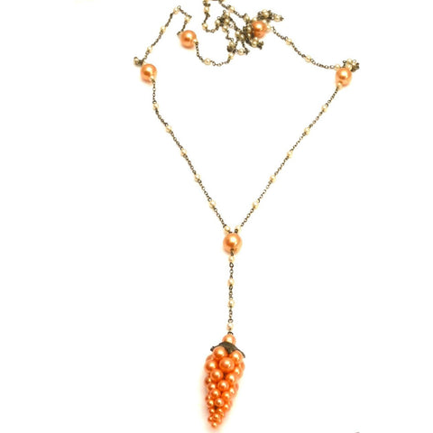 Vintage 1920s Pearl Peachy Grapes Pendant Extra Long