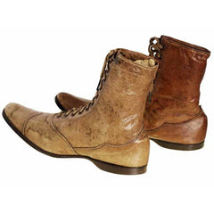 Rare Antique Childrens 1869 Civil War Era Tan High Lace Boots, Childrens Never Worn - The Best Vintage Clothing  - 5