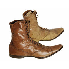 Rare Antique Childrens 1869 Civil War Era Tan High Lace Boots, Childrens Never Worn - The Best Vintage Clothing  - 4