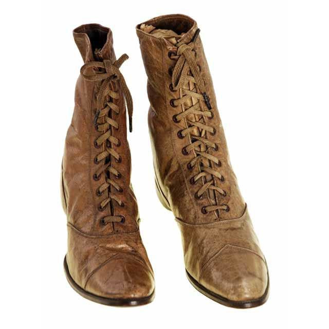 Rare Antique Childrens 1869 Civil War Era Tan High Lace Boots, Childrens Never Worn - The Best Vintage Clothing  - 1